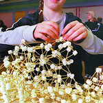 marshmallow molecule in tuesdey/science fair page dave milne april 1 00 Erin Lutzer puts together a marshmallow moleculem using toothpicks and mini marshmallows (she addmits to eating a few) ...
