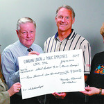 CUPE money to SD #57 in wednesday dave milne july 23 02 CUPE members Margaret Marleau, left Secretary Treasurer and Dale Grieves, far right, CUPE 3742 Scholarship Chair,  present Bill Christ ...