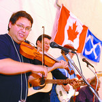 Louis Riel Days/Monday Brent Braaten-Nov 17/2002  The Metis Traditional Band preform atKinsman place Sunday afternoon Part of Metis celebration taking place. From left to right Andy Goulet,  ...