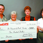 CUPE donation2 in saturday dave milne nov 28 03 CUPE Local 3742 members Daryl MacGillivray, left, Gertie Howard, second from left and Lynn Hardy, far right, present Bernie Gould, Chair of St ...