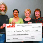 CUPE donates st vincent de paul in thursday dave milne dec 1 04 CUPE Local 3742 SD#57 support staff representatives Ranjit Holat, Mary Jo Thibodeau and Heather McKay present Clint McNeill, S ...