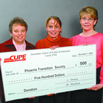 CUPE donates phoenix transition  in thursday dave milne dec 1 04 CUPE Local 3742 SD#57 support staff representatives Lorraine Prouse, left and Bonnie Rentz, right, present Phoenix Transition ...